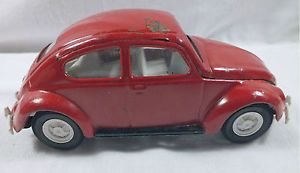 Vintage Tonka Toy Metal Red Volkswagen VW Beetle Car Whitewall Tires Bumpers
