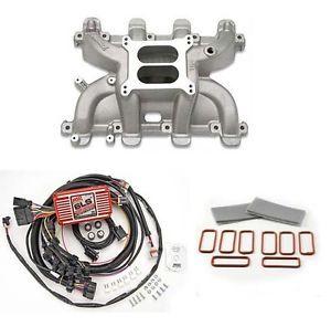 LS Cathedral Carb Intake Kit Edelbrock Performer RPM Intake MSD 6010 Ignition
