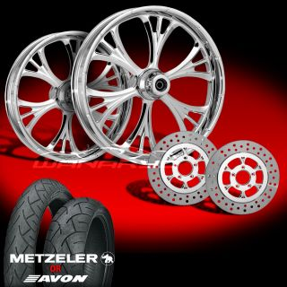 Majestic Chrome Wheels Tires Rotors Pulley 2002 08 Harley V Rod 200 Tire