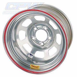 Silver Bassett D Hole Racing Wheel 15x8 5x5 IMCA Modified Stock Car Non Beadlock