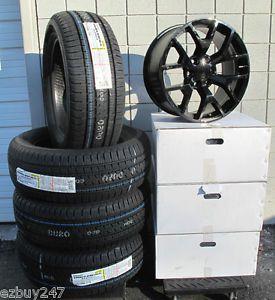 "20"" GMC Yukon Sierra 2014 Factory Style Black Wheels Bridgestone Tires"