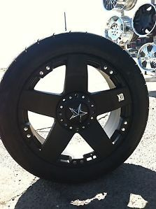 "22"" Black Wheels Tires 8x165 Hummer Chevy Dodge New 305 45 22 Rock Stars"