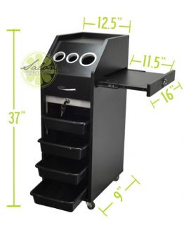 Salon Trolley Cart Hair Beauty Salon Equipment Black Shelves Wheels Locking