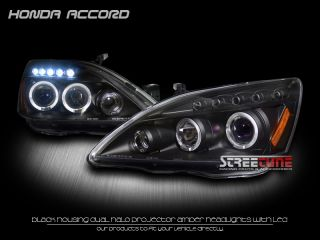 JDM Blk DRL LED Halo Rims Projector Head Lights Lamps Signal 03 07 Honda Accord