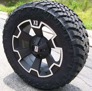 "18"" Black XD Thump Wheels Nitto Trail Grappler Jeep Wrangler JK Ford F150 5LUG"