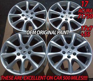 "4 New 17"" Acura TSX Silver Wheels Rims Integra Type R MDX RSX TL CL s 71750"