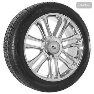 """22"""" inch Cadillac Escalade Platinum Edition Chrome Wheels Rims and Tires Package"""