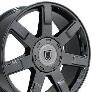 """Set of 4 22"""" Cadillac Escalade Replica Black Chrome Wheels Rims 22x9 Chevy New"""