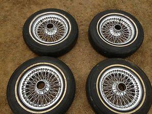 Jaguar Chrome Wire Wheel and Tire Set of 4 P78 ER78 15 Pirelli Cinturato