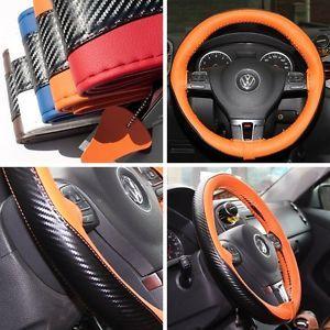 "47025 14 15"" 38cm Steering Wheel Cover Orange Leather Fiat Wrap BMW Audi Car SUV"