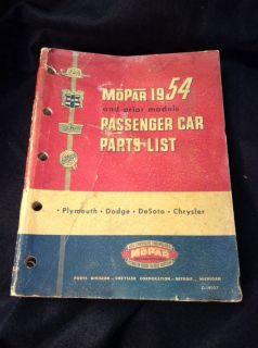 Mopar 1954 Passenger Car Parts List for Plymouth Dodge DeSoto Chrysler M2