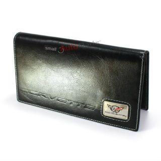 Chevy Corvette C5 Logo Black Genuine Leather Checkbook Cover Wallet