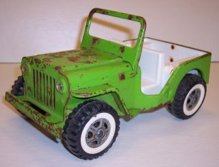 Vintage Green 1960's Tonka Toy Jeep for Parts Repair Restoration Project