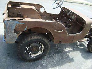 Antique Military Jeep MB GPW CJ3A CJ Project Parts Flathead Solid Axle Tub Frame