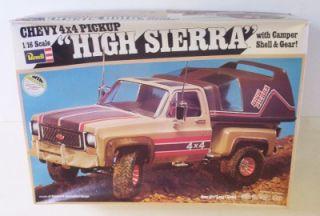 4x4 Chevy Pickup w camper Top 1 16 Scale Model Revell Kit Vtg Stepside Truck