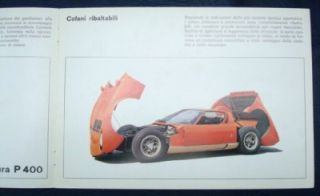 Lamborghini Miura P400 Sports Car Sales Brochure C1968