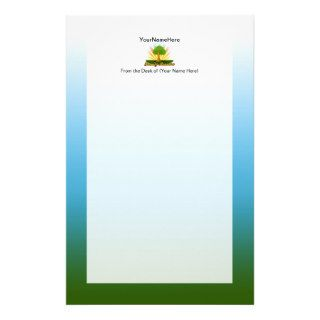 Custom Family Reunion, Green Tree with Sun Rays Stationery Design
