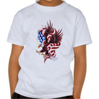 Eagle and American Flag Tattoo Illustration Style Tees