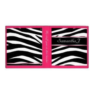 Classy Chic Zebra Print Personalized Berry Binder