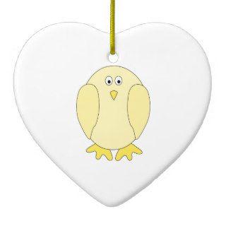 Cute Light Yellow Bird. Cartoon Chick. Christmas Tree Ornament