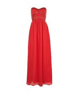 AX Paris Red Bandeau Embellished Maxi Dress