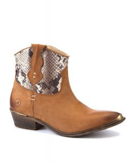 Bronx Leather Tan Snake Print Cowgirl Boots