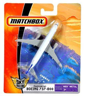 "Mattel Year 2007 Matchbox MBX Metal Sky Busters Mini (4 1/4"" W x 4"" L x 1 1/2"" H) Die Cast Plane # 3 of 36   Continental Airlines BOEING 737 800 (M7720): Toys & Games"