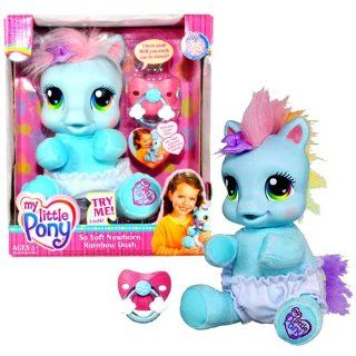 Hasbro Year 2007 My Little Pony 8 Inch Tall Talking Plush   So Soft Newborn Rainbow Dash with Pacifier: Toys & Games