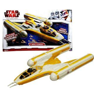"Star Wars Year 2009 Animated Series ""The Clone Wars"" Action Figure Vehicle Set : Y WING BOMBER with Proton Torpedoes, Removable Engines, Proton Bombs, Hidden Missile Launchers and Package that Converts to Diorama: Toys & Games"