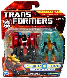 Hasbro Year 2009 Transformers Power Core Combiners Series 4 1/2 Inch Tall Robot Action Figure Set   Decepticon SMOLDER (Vehicle Mode: Fire Truck) with Mini Con CHOPSTER: Toys & Games