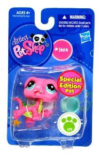 "Hasbro Year 2009 Littlest Pet Shop Single Pack ""Special Edition Pet"" Series Bobble Head Pet Figure Set #1464   Pink Alligator Crocodile with Bowl (#94576) Toys & Games"