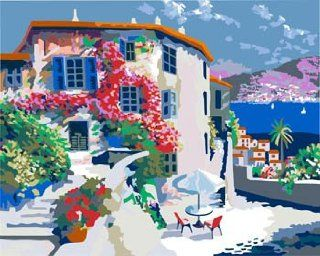 Santorini in Greece Acrylic (2013 New DIY paint by number 16*20'' kit) Arts, Crafts & Sewing