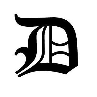 Old English Lettering Letter D White Decal: Automotive