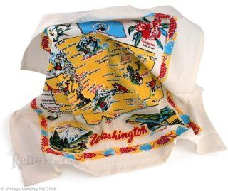 Washington State Map Flour Sack Kitchen Towel   Dish Towels