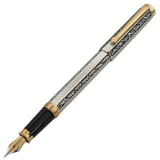 Xezo Legionnaire 18 Karat Gold, Platinum Plated and Diamond Cut Fountain Pen in Art Nouveau Style with Serial Number. A Unique Gift for a Man or Woman: Office Products