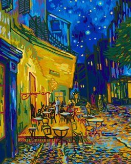 """DiyOilPaintings Cafe Bar Paint By Numbers Kits, 20""""x16"""", Cafe Terrace At Night Paint By Number Kits, Origin Paintings By Van Gogh"""