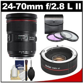 Canon EF 24 70mm f/2.8 L II USM Zoom Lens with 2x Teleconverter (=24 140mm) + 3 UV/FLD/CPL Filters Kit for EOS 60D, 6D, 7D, 5D Mark II III, Rebel T3, T3i, T4i Digital SLR Cameras: CANON: Camera & Photo