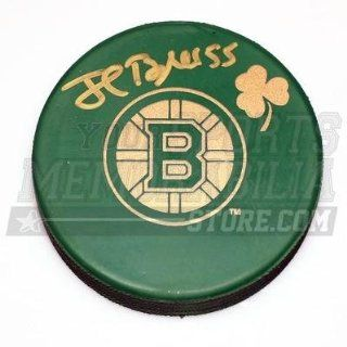 Autographed Johnny Boychuk Hockey Puck   Green St. Patricks Day Logo   Autographed NHL Pucks Sports Collectibles