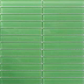 Susan Jablon Mosaics   1x6 Inch Soft Mint Green Subway Glass Tile: Home Improvement