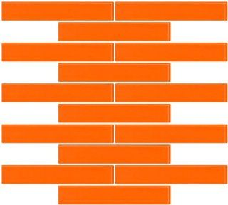 Susan Jablon Mosaics   1x6 Inch Bright Orange Glass Subway Tile Reset In Running brick Layout: Home Improvement