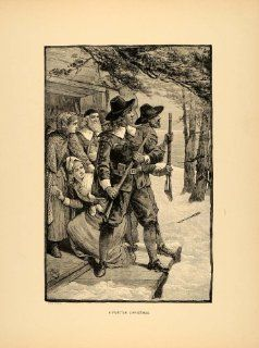 1894 Print Puritan Christmas Guns Arrows Snow Porch Art   Original Halftone Print
