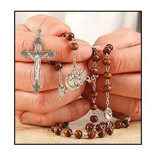Wood Pro Life Beads Rosary Palm Hand Baby Fetus Silver Tone Cross Crucifx Pray Live: Everything Else