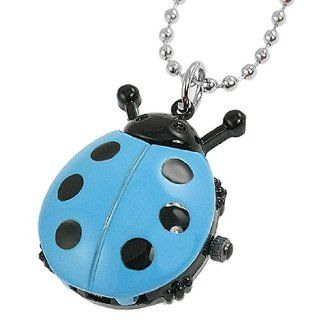 Woman Sky Blue Black Ladybug Pendant Necklace Quartz Watch: Watches