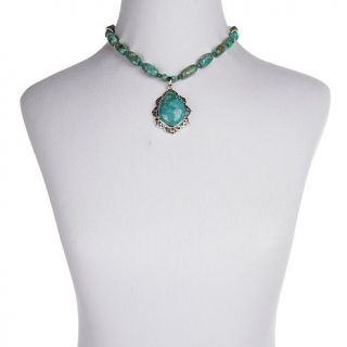 """Studio Barse Turquoise Sterling Silver """"Elizabethan"""" Pendant with 17 1/4"""" Beade"""