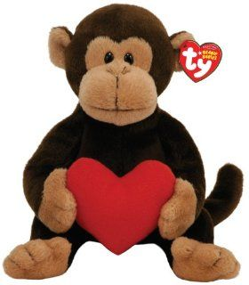 TY Beanie Baby D'vine Monkey with Red Heart: Toys & Games