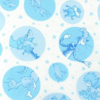 Celebrate Seuss 2 Blue Character Dot Fabric Three Yards (2.7m) ADE 12781 4 Blue Arts, Crafts & Sewing