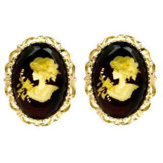 Cameo Amber 14k Gold Large Stud Earrings: Ian and Valeri Co.: Jewelry