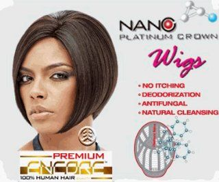 Janet Collection Premium Encore Human Hair Nano Platinum Wig Ara Color: FR4/30: Health & Personal Care