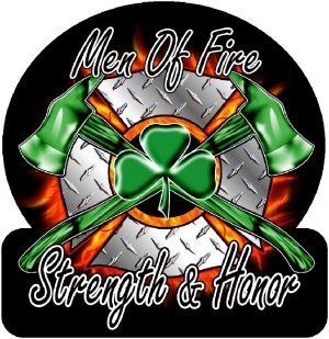 "Firefighter Decal/Sticker   4""x4"" Diamond Plate Men of Fire, Strength & Honor Irish Exterior Window Decal : Other Products : Everything Else"