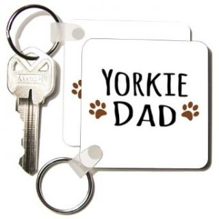 kc_154008_1 InspirationzStore Pet designs   Yorkie Dog Dad   Yorkshire Terrier   Doggie by breed   doggy lover brown paw prints   pet owner   Key Chains   set of 2 Key Chains: Clothing